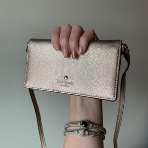 Kate Spade Rose Gold Wallet With Strap